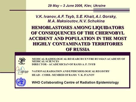 HEMOBLASTOSES AMONG LIQUIDATORS OF CONSEQUENCES OF THE CHERNOBYL ACCIDENT AND POPULATION IN THE MOST HIGHLY CONTAMINATED TERRITORIES OF RUSSIA MEDICAL.