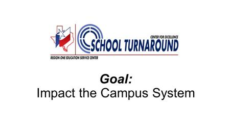 Goal: Impact the Campus System. School Turnaround Change in the Performance of an Organization DocumentedQuick DramaticSustained.