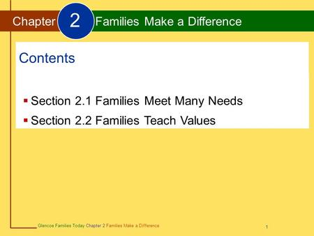 2 Contents Chapter Families Make a Difference