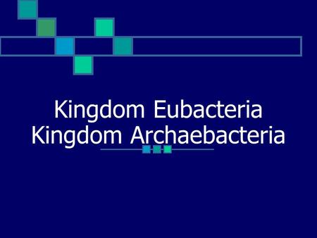 Kingdom Eubacteria Kingdom Archaebacteria. Kingdoms Eubacteria/Archaebacteria Eubacteria contain bacteria cells with cell walls made of peptidoglycan.