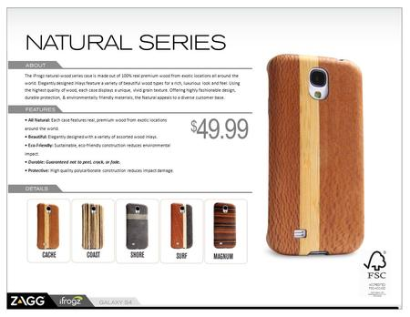 The iFrogz natural-wood series case is made out of 100% real premium wood from exotic locations all around the world. Elegantly designed inlays feature.