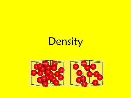 Density. Definition Density: The amount of matter in a certain volume. (How much matter is in a given amount of space.) Example: Each of the spheres in.