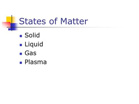 States of Matter Solid Liquid Gas Plasma. Solids Has definite volume Has definite shape Molecules are held in specific locations by electrical forces.