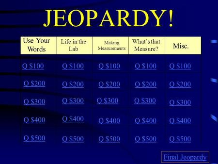 JEOPARDY! Use Your Words Life in the Lab What's that Measure? Making Measurements Q $100 Q $200 Q $300 Q $400 Q $500 Q $100 Q $200 Q $300 Q $400 Q $500.