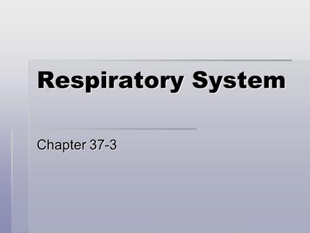 Respiratory System Chapter 37-3. What is Respiration?  Respiration is not just breathing in oxygen  Once oxygen is pulled into the lungs, it is carried.
