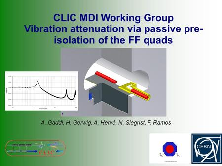 CLIC MDI Working Group Vibration attenuation via passive pre- isolation of the FF quads A. Gaddi, H. Gerwig, A. Hervé, N. Siegrist, F. Ramos.