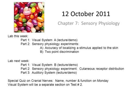 12 October 2011 Chapter 7: Sensory Physiology Lab this week: Part 1: Visual System A (lecture/demo) Part 2: Sensory physiology experiments: A)Accuracy.