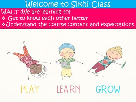 Welcome to Sikhi Class WALT (We are learning to):  Get to know each other better  Understand the course content and expectations.