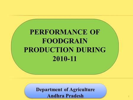 PERFORMANCE OF FOODGRAIN PRODUCTION DURING 2010-11 Department of Agriculture Andhra Pradesh Department of Agriculture Andhra Pradesh 1.