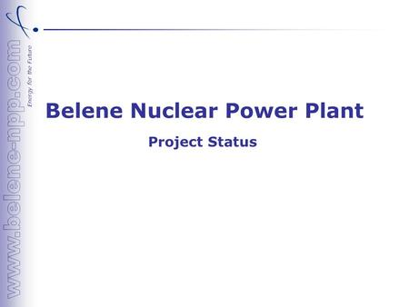 Energy for the Future Belene Nuclear Power Plant Project Status.
