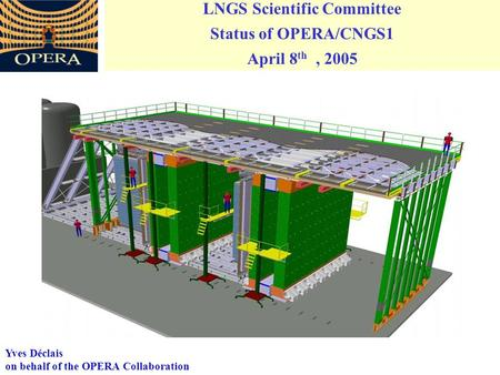 LNGS Scientific Committee Status of OPERA/CNGS1 April 8 th, 2005 Yves Déclais on behalf of the OPERA Collaboration.