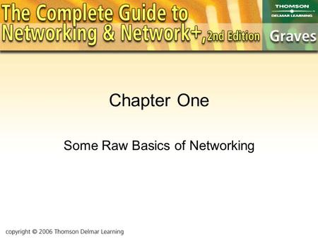 Chapter One Some Raw Basics of Networking. Objectives Introduce some basic concepts Learn some new vocabulary Get our first glimpse of some networking.