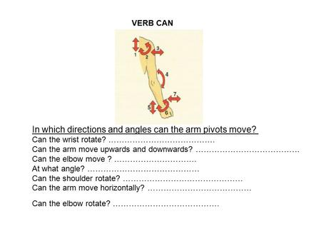 VERB CAN In which directions and angles can the arm pivots move? Can the wrist rotate? …………………………………. Can the arm move upwards and downwards? …………………………………