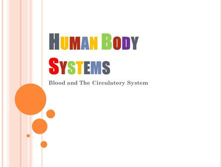 HUMAN BODYSYSTEMSHUMAN BODYSYSTEMS Blood and The Circulatory System.