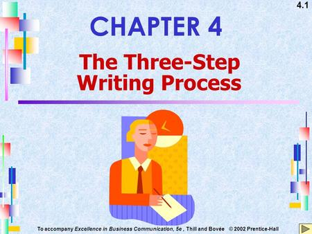 4.1 To accompany Excellence in Business Communication, 5e, Thill and Bovée © 2002 Prentice-Hall CHAPTER 4 The Three-Step Writing Process.