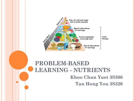 PROBLEM-BASED LEARNING - NUTRIENTS Khoo Chun Yuet 3S306 Tan Hong You 3S320.