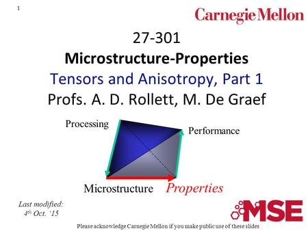 1 27-301 Microstructure-Properties Tensors and Anisotropy, Part 1 Profs. A. D. Rollett, M. De Graef Microstructure Properties Processing Performance Last.