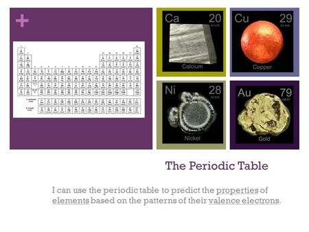 + The Periodic Table I can use the periodic table to predict the properties of elements based on the patterns of their valence electrons.