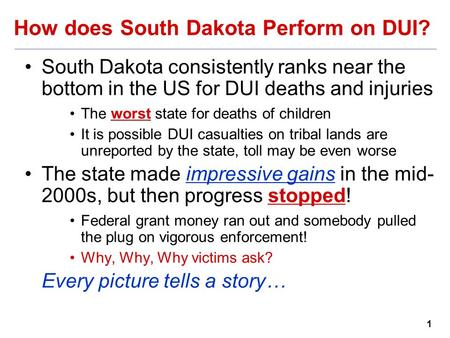 1 How does South Dakota Perform on DUI? South Dakota consistently ranks near the bottom in the US for DUI deaths and injuries The worst state for deaths.