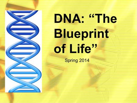 "DNA: ""The Blueprint of Life"" Spring 2014. DNA: Scientists in History."