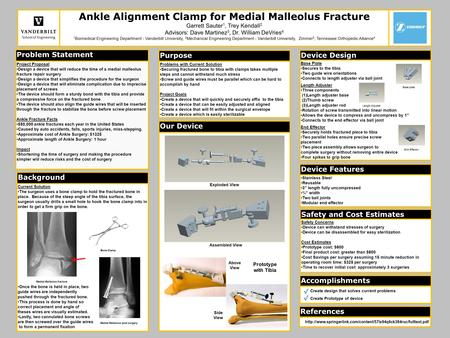 Problem Statement Project Proposal Design a device that will reduce the time of a medial malleolus fracture repair surgery Design a device that simplifies.
