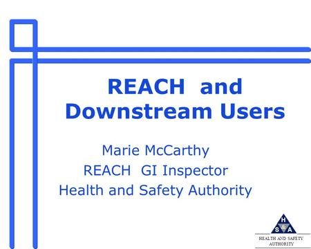 & H AS HEALTH AND SAFETY AUTHORITY REACH and Downstream Users Marie McCarthy REACH GI Inspector Health and Safety Authority.