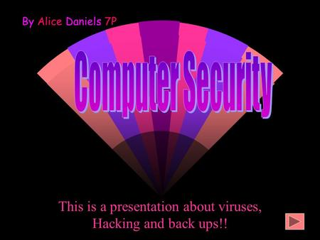 This is a presentation about viruses, Hacking and back ups!! By Alice Daniels 7P.