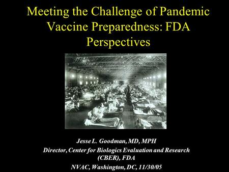 Meeting the Challenge of Pandemic Vaccine Preparedness: FDA Perspectives Jesse L. Goodman, MD, MPH Director, Center for Biologics Evaluation and Research.