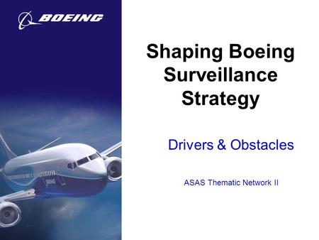 Shaping Boeing Surveillance Strategy Drivers & Obstacles ASAS Thematic Network II.