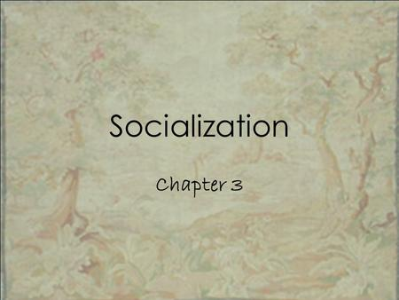 "Socialization Chapter 3. Chapter Overview I.Quiz II.What is ""Socialization""? III.Nature v. Nurture IV.Socialization into Gender V.Agents of Socialization."