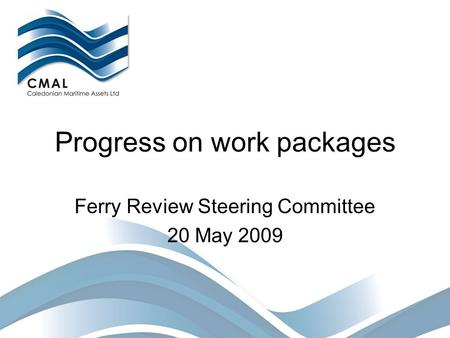 Progress on work packages Ferry Review Steering Committee 20 May 2009.