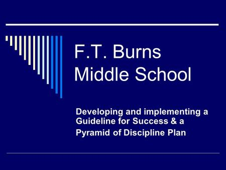 F.T. Burns Middle School Developing and implementing a Guideline for Success & a Pyramid of Discipline Plan.