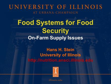 Food Systems for Food Security On-Farm Supply Issues Hans H. Stein University of Illinois