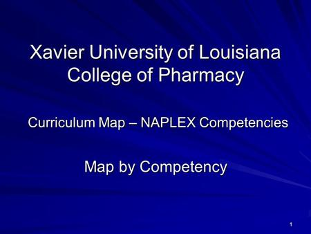 1 Xavier University of Louisiana College of Pharmacy Curriculum Map – NAPLEX Competencies Map by Competency.