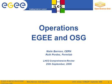 Enabling Grids for E-sciencE EGEE-II INFSO-RI-031688 OSG-doc-498 Maite Barroso: Grid Operations LHCC review, CERN,25 th September 2006 1 Operations EGEE.