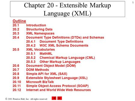  2001 Prentice Hall, Inc. All rights reserved. 1 Chapter 20 - Extensible Markup Language (XML) Outline 20.1 Introduction 20.2 Structuring Data 20.3 XML.