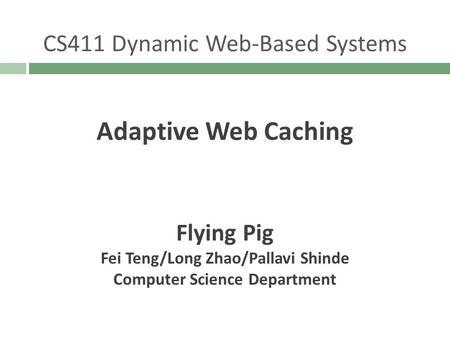 Adaptive Web Caching CS411 Dynamic Web-Based Systems Flying Pig Fei Teng/Long Zhao/Pallavi Shinde Computer Science Department.