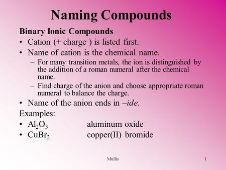Mullis1 Naming Compounds Binary Ionic Compounds Cation (+ charge ) is listed first. Name of cation is the chemical name. –For many transition metals, the.