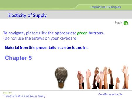 Slides By Timothy Diette and Kevin Brady Elasticity of Supply Begin Interactive Examples CoreEconomics, 2e To navigate, please click the appropriate green.
