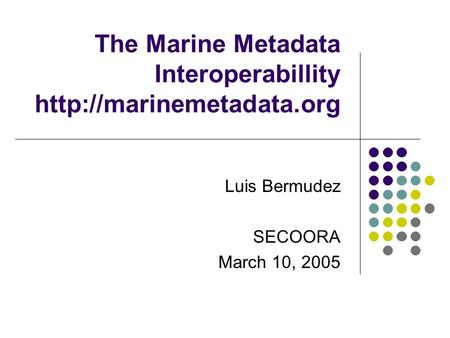 The Marine Metadata Interoperabillity  Luis Bermudez SECOORA March 10, 2005.