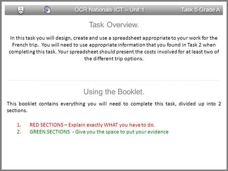 OCR Nationals ICT – Unit 1 Task 5 Grade A Task Overview. In this task you will design, create and use a spreadsheet appropriate to your work for the French.