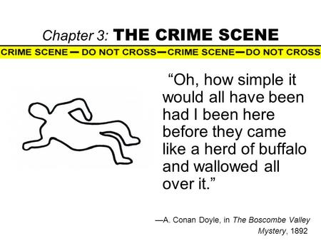 "Chapter 3: THE CRIME SCENE ""Oh, how simple it would all have been had I been here before they came like a herd of buffalo and wallowed all over it."" —A."