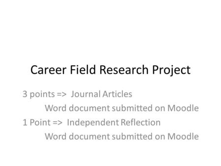 Career Field Research Project 3 points => Journal Articles Word document submitted on Moodle 1 Point => Independent Reflection Word document submitted.