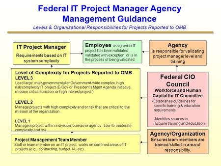 Federal IT Project Manager Agency Management Guidance Levels & Organizational Responsibilities for Projects Reported to OMB IT Project Manager Requirements.
