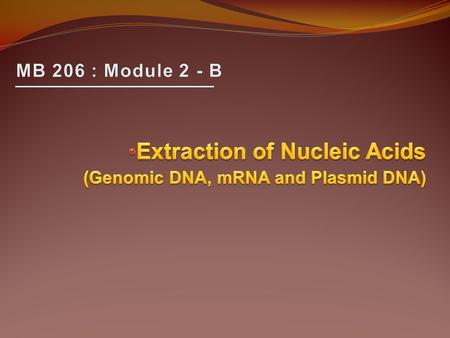 Extraction of Nucleic Acids (Genomic DNA, mRNA and Plasmid DNA)