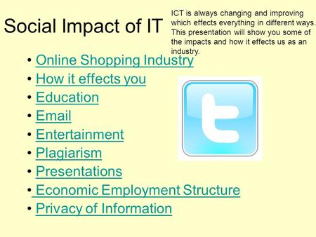 Social Impact of IT Online Shopping Industry How it effects you
