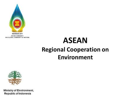 ASEAN Regional Cooperation on Environment Ministry of Environment, Republic of Indonesia.