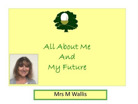 All About Me And My Future Mrs M Wallis. All About Me Things that I have done: I've worked as a pharmacist. I've been a teacher in Blackburn. I've lived.
