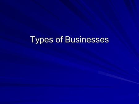 Types of Businesses. Types of Business Business Defined An organization that produces or sells goods or services to satisfy the needs, wants, and demands.