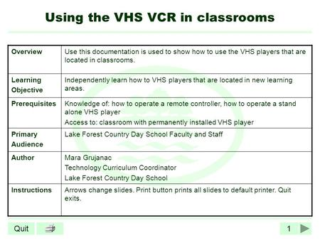 1Quit Using the VHS VCR in classrooms OverviewUse this documentation is used to show how to use the VHS players that are located in classrooms. Learning.